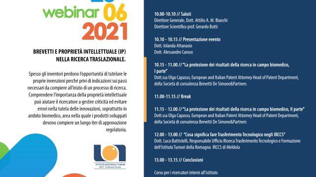 23.06.2021 // webinar Brevetti e proprietà intellettuale (IP)  nella ricerca traslazionale.